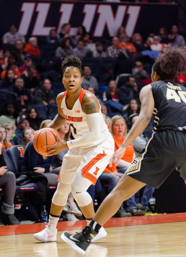 Brandi+Beasley+handles+the+ball+for+Illinois+during+their+73-54+loss+to+Purdue+on+Sunday%2C+February+4.+Illinois+beat+Valparaiso+73-54+on+Wednesday.