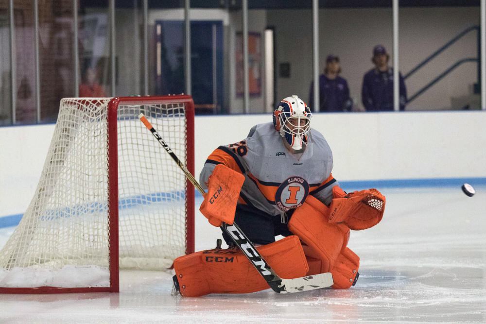 David Heflin stretches out across the goal as a shot from McKendree is heading toward him at the University of Illinois Ice Arena on Oct. 13. Illinois beat McKendree 4-2.