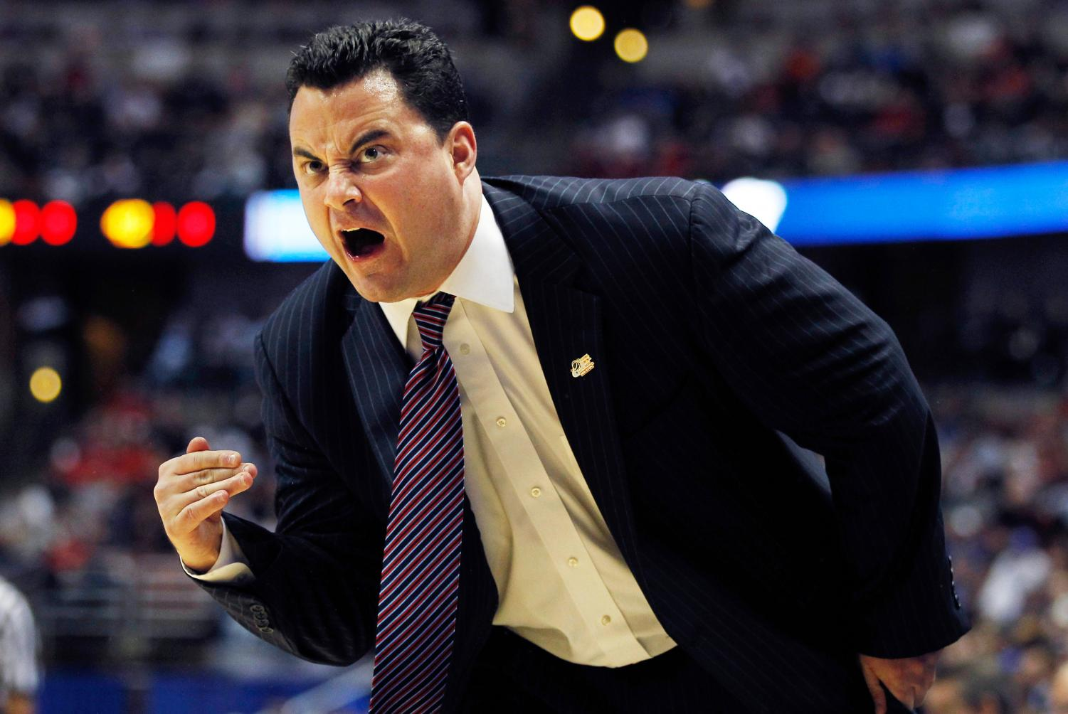 Arizona head coach Sean Miller urges on his players in the first half against Duke at the Honda Center in Anaheim, California, on Mar. 24, 2011.