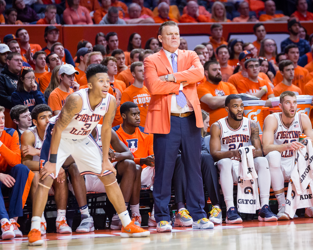 Illinois head coach Brad Underwood watches his team from the sideline during the game against Indiana at State Farm Center on Wednesday, Jan. 24, 2018. The Illini won 73-71.