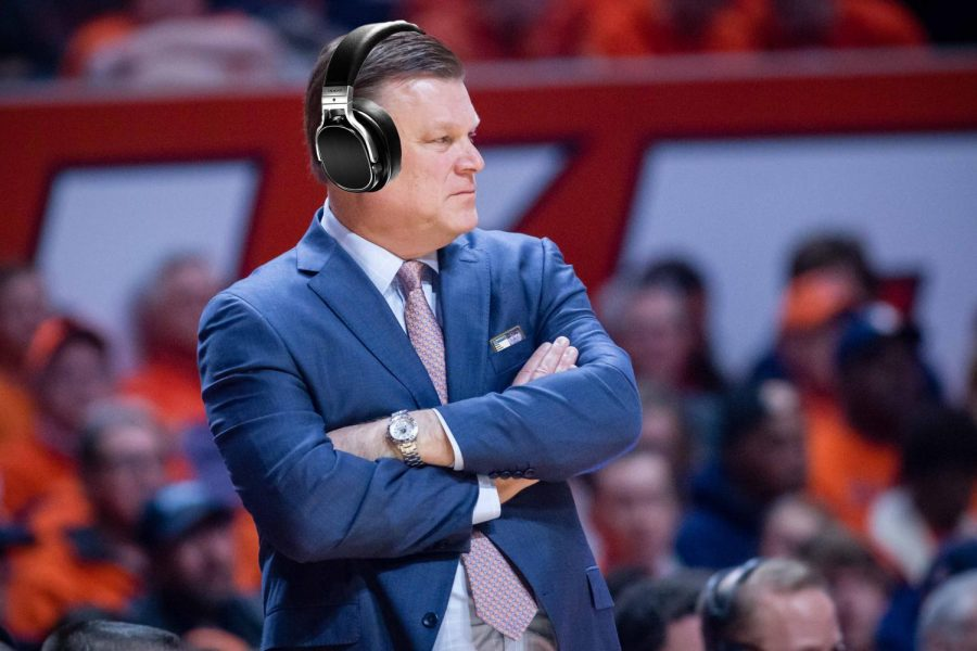Illinois+head+coach+Brad+Underwood+watches+his+team+from+the+sideline+during+the+game+against+Grand+Canyon+at+State+Farm+Center+on+Dec.+30%2C+2017.+The+Illini+won+62-58.