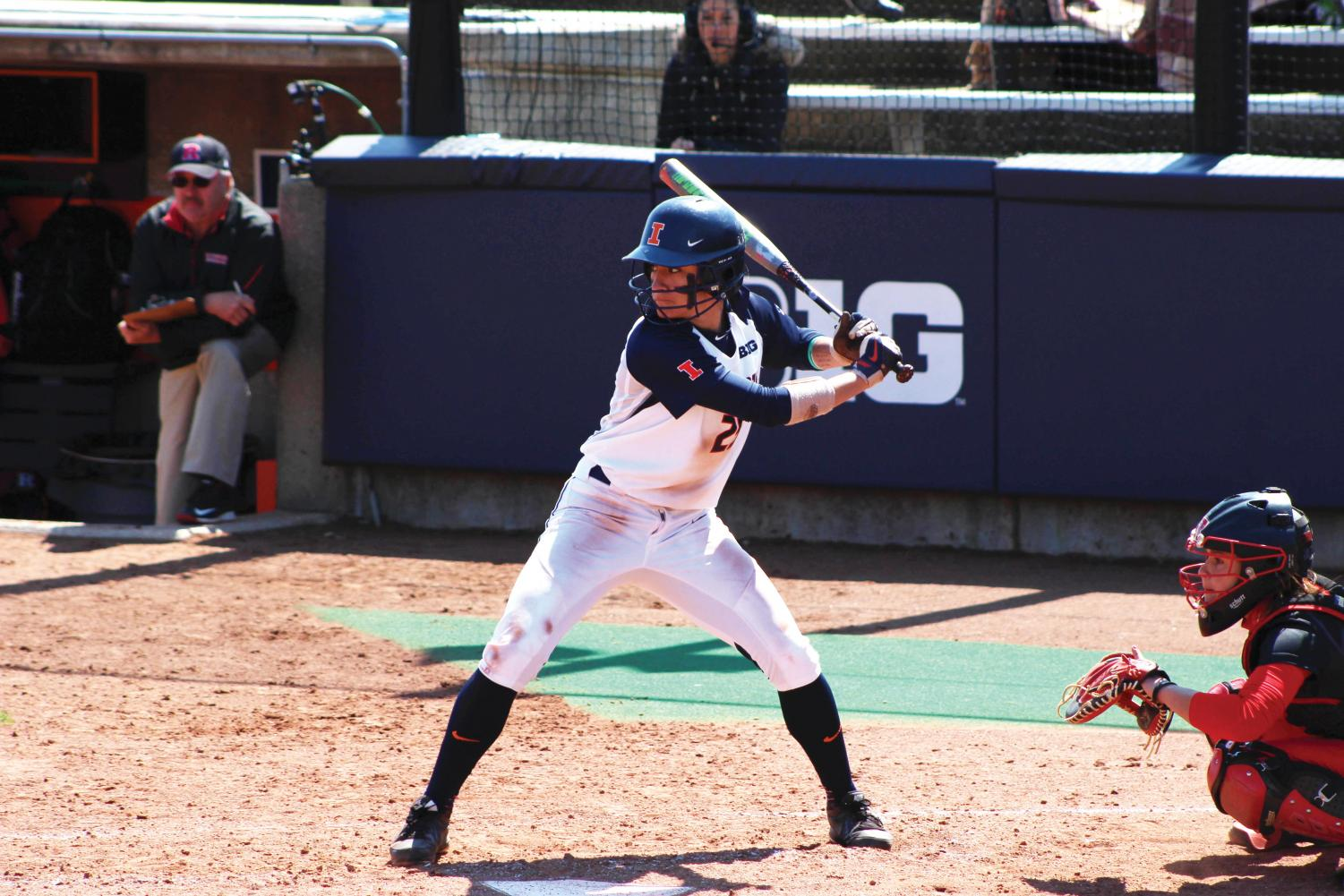 Illinois' Carly Thomas bats in the game against Rutgers at Eichelberger Field on Sunday, Apr. 3, 2016.