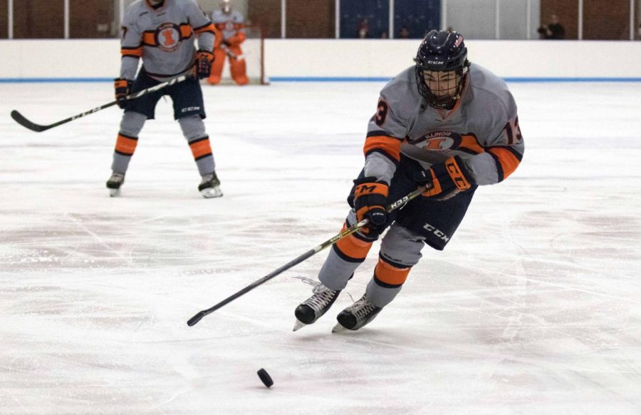 James McGing gains possession of the puck against Lindenwood and skates it up the ice at the Ice Arena on Friday, Dec. 1.  Illini won in overtime 2-1.
