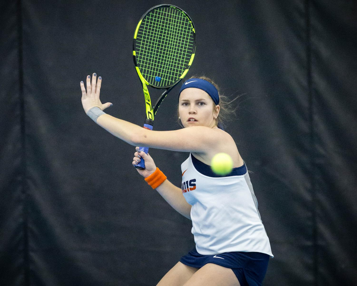 Illinois' Jaclyn Switkes gets ready to return the ball during the match against Texas at Atkins Tennis Center on Friday, Feb. 2, 2018. The Illini won 4-2.