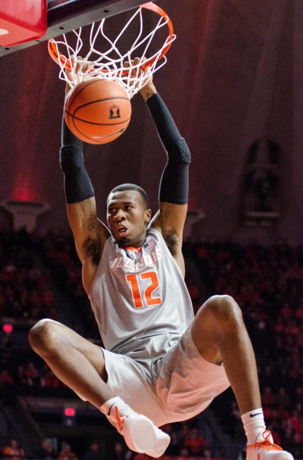 Leron Black slams down 2 of his 28 points for Illinois during their 72-66 win over Nebraska in front of a sold out crowd on Sunday, February 18.