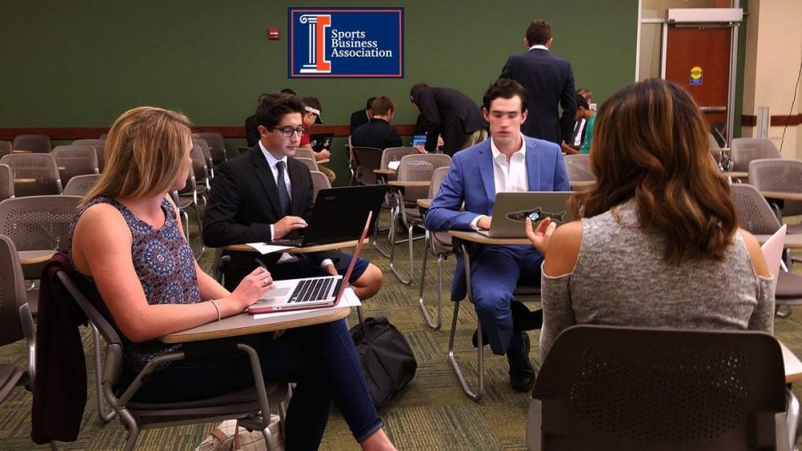 Student+work+together+as+a+part+of+Illinois+Sports+Business.+ISB+is+an+RSO+which+helps+students+network+by+connecting+their+passion+for+sports+with+their+passion+for+business.+