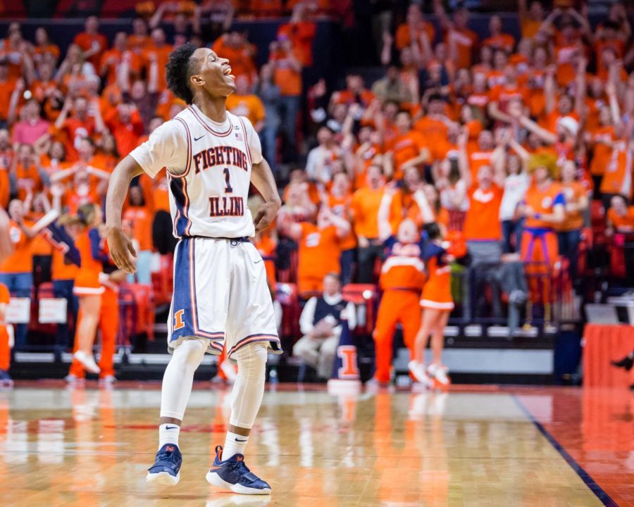 Illinois+guard+Trent+Frazier++celebrates+after+hitting+a+three+during+the+game+against+Purdue+at+the+State+Farm+Center+on+Thursday%2C+Feb.+22.+The+Illini+lost+93-86.