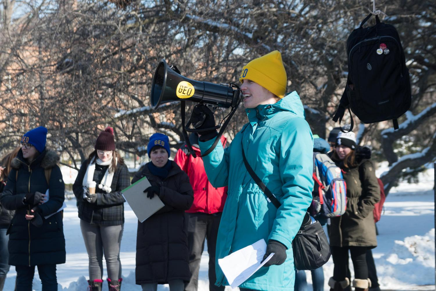 Graduate employees protest at the Alma Mater for a fair contract on Thursday, Jan 18.