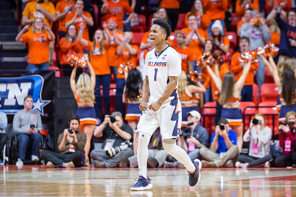 Illinois guard Trent Frazier celebrates after hitting a three during a 78-69 loss against Wisconsin at the State Farm Center on Thursday, Feb. 8, 2018.