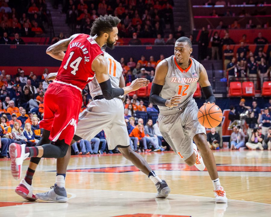 Illinois+forward+Leron+Black+dribbles+to+the+basket+during+the+game+against+Nebraska+at+the+State+Farm+Center+on+Sunday%2C+Feb.+18.