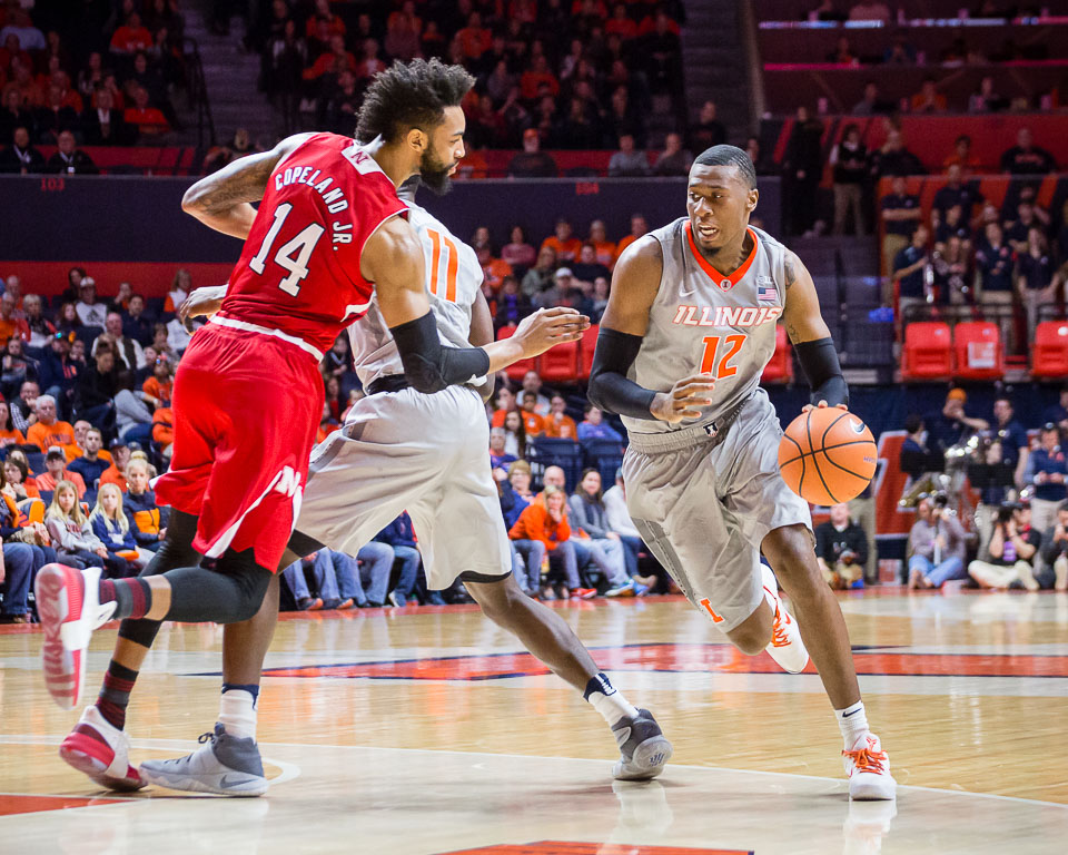 Illinois forward Leron Black dribbles to the basket during the game against Nebraska at the State Farm Center on Sunday, Feb. 18.