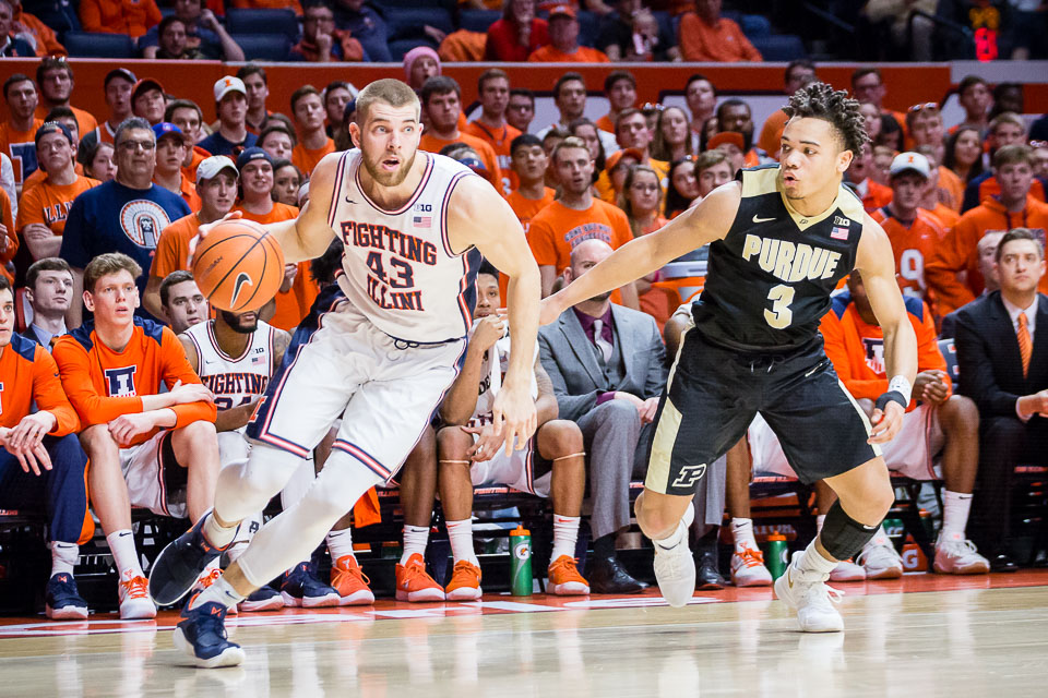 Illinois forward Michael Finke (43) dribbles to the basket during the game against Purdue at the State Farm Center on Thursday, Feb. 22, 2018.