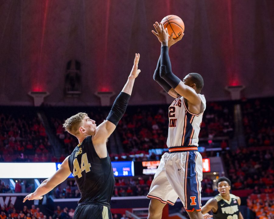 Illinois+forward+Leron+Black+%2812%29+rises+up+for+a+shot+during+the+game+against+Purdue+at+the+State+Farm+Center+on+Thursday%2C+Feb.+22%2C+2018.