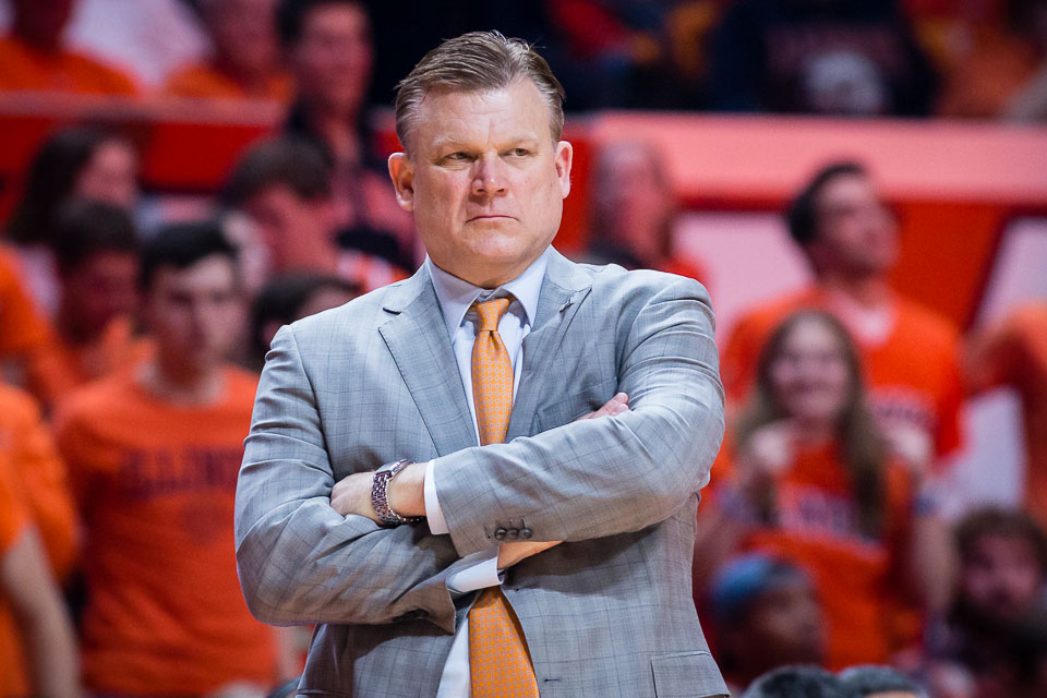 Illinois head coach Brad Underwood watches his team from the sideline during the game against Wisconsin at the State Farm Center on Thursday, Feb. 8, 2018.