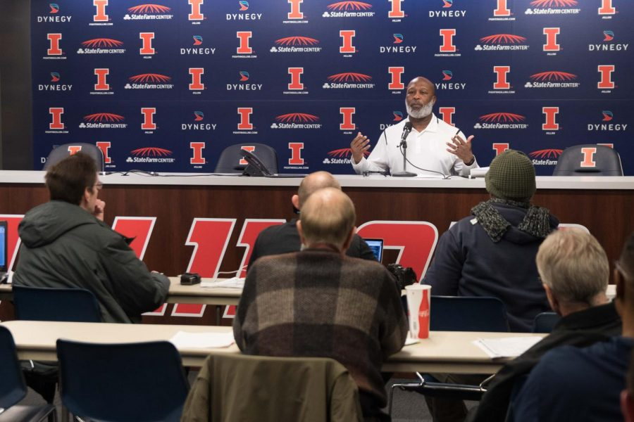 Football+head+coach+Lovie+Smith+speaks+at+a+press+conference+for+National+Signing+Day+on+Wednesday+afternoon.+There+were+five+players+who+signed+on+Wednesday+and+there+is+one+more+scholarship+available.+Smith+said+he+has+a+player+in+mind+for+the+scholarship%2C+but+he+would+not+discuss+his+position.+