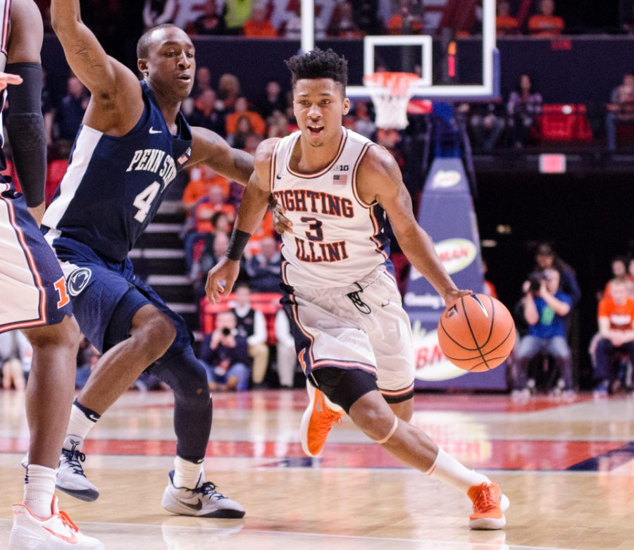 Te'Jon Lucas drives towards the basket during Illinois' 74-52 loss to Penn State on Sunday, February 11.