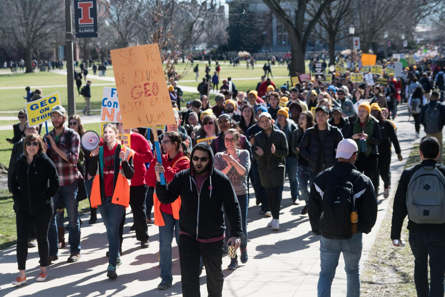 Members of GEO protest on the Main Quad on Feb. 26.