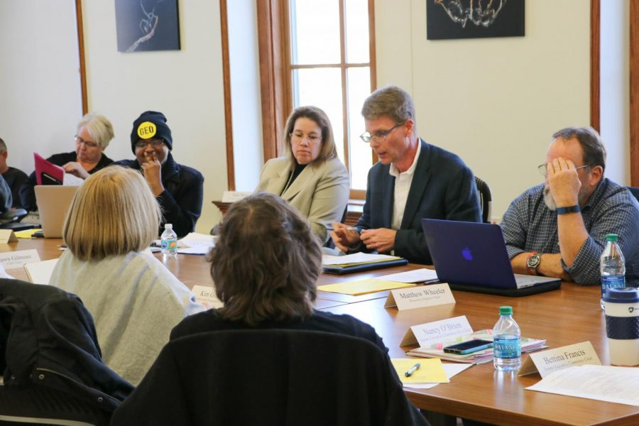 The Senate Executive Committee meets in the Natural History Building on Feb. 26.