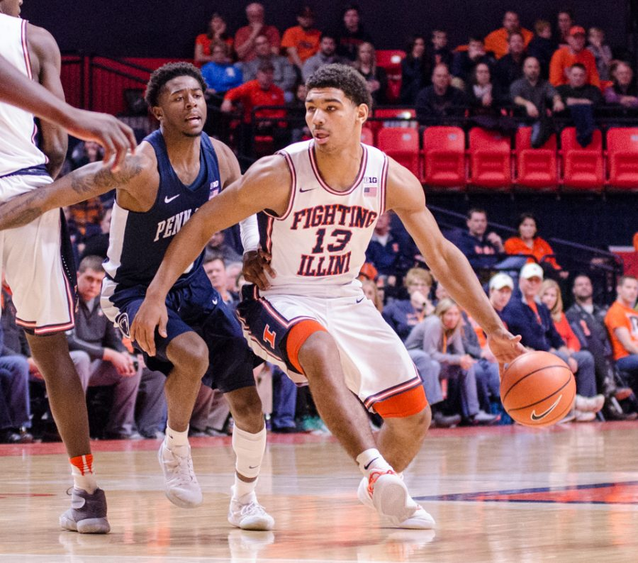 Mark Smith drives the lane during Illinois' 74-52 loss to Penn State on Sunday, February 11.