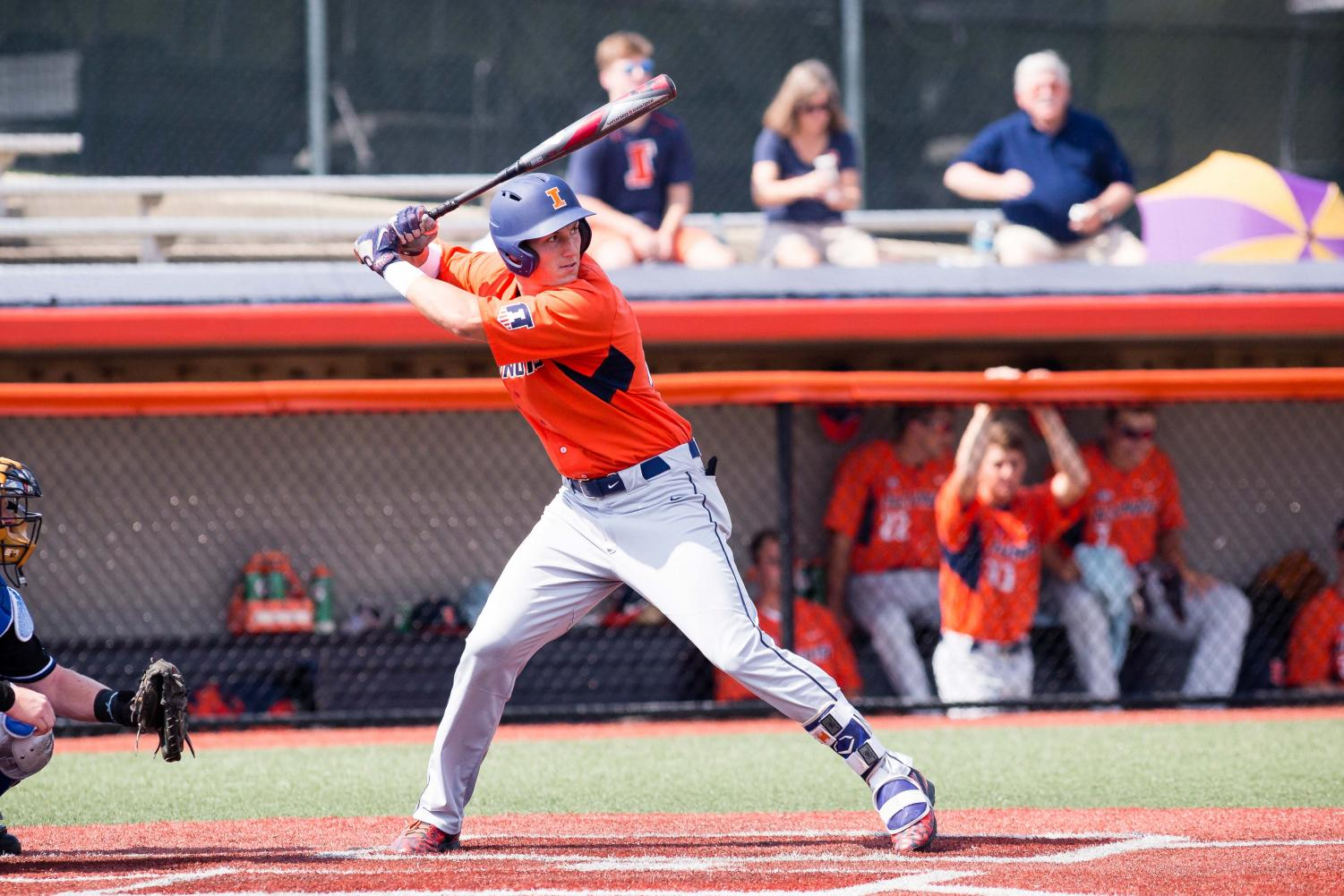 Illinois outfielder Doran Turchin waits for the pitch during the game against Indiana State at Illinois Field on Sept. 24. Turchin was drafted by the Baltimore Orioles in the 14th round of the MLB Draft.
