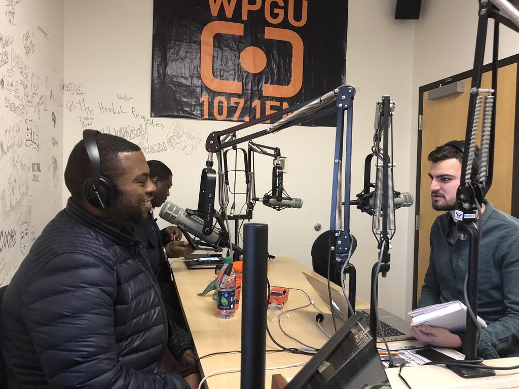 Daily Illini Managing Editor Joe Longo (right) interviewing Chef Judson Todd Allen (left), a Class of 2003 ACES alumnus.