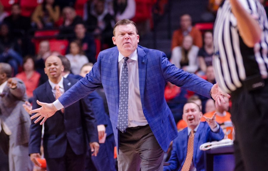 Illinois+head+coach+Brad+Underwood+argues+with+the+referee+during+Illinois%27+game+against+Penn+State+on+Feb.+11.+The+Illini+lost+74-52.
