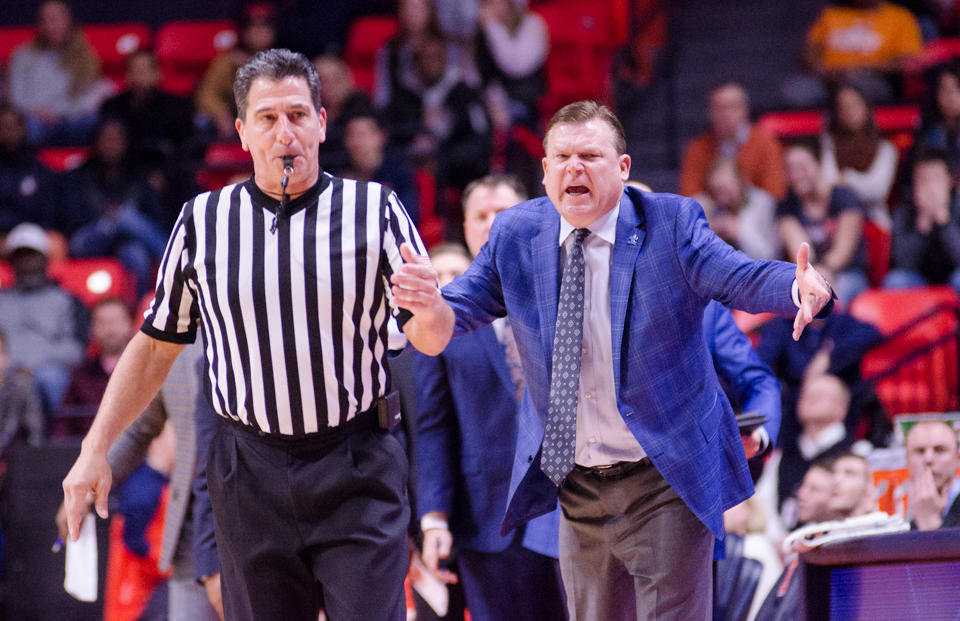 Head Coach Brad Underwood argues with the ref during Illinois' 74-52 loss to Penn State on Sunday, February 11.