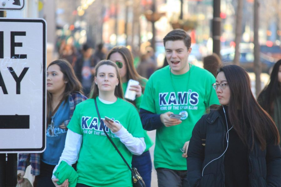 University of Illinois students celebrate Unofficial on Green St. on Mar. 3, 2017.