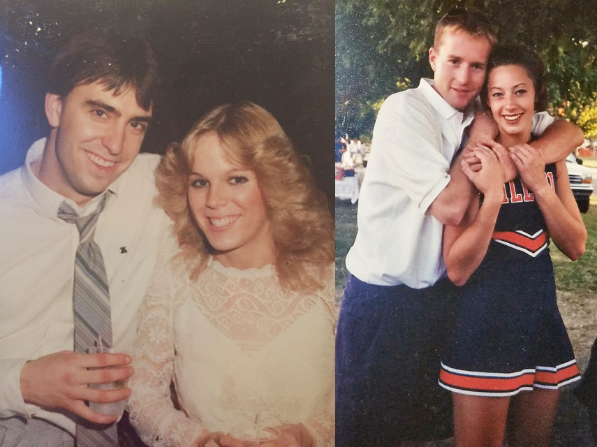 %28Left%29+Scott+and+Kathy+Christensen+at+the+Delta+Chi+winter+formal+in+1980.+%28Right%29++Shawn+and+Kate+Mayernick+in+the+Fall+of+1999+at+an+Illini+football+game.+