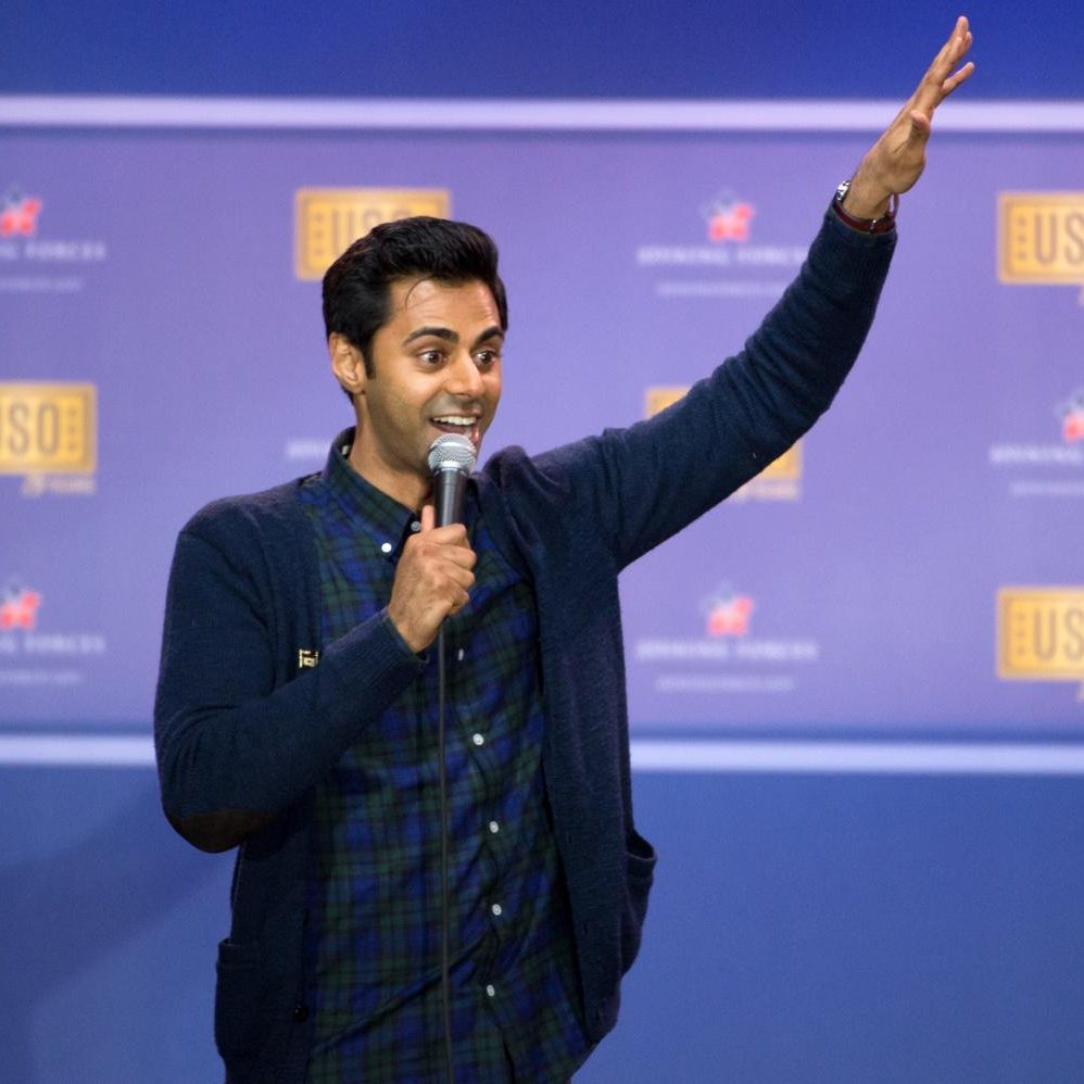 Comedian Hasan Minhaj performs at a comedy show in Washington, D.C. on May 5, 2016.