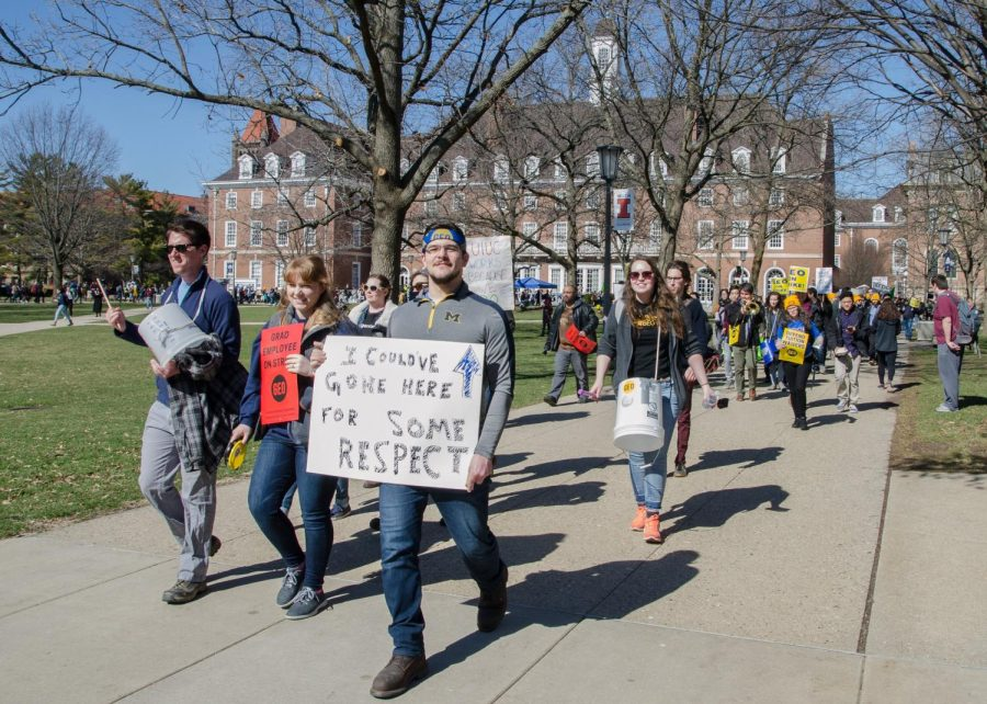 Members of the GEO march on the Main Quad on Feb. 26.