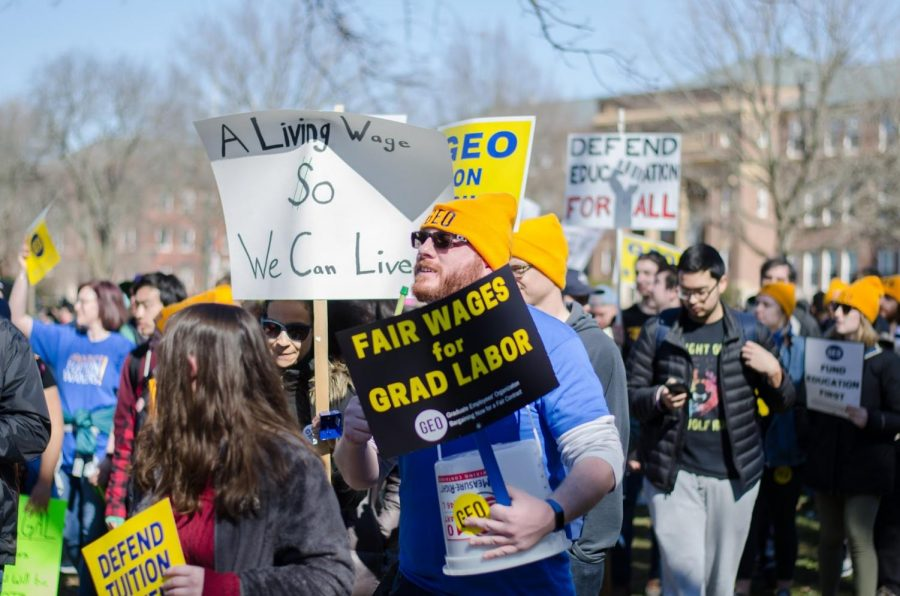 GEO members protesting on the Main Quad during the first day of their strike on Monday.