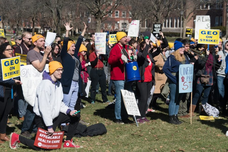 Graduate employees hold a rally on the quad.