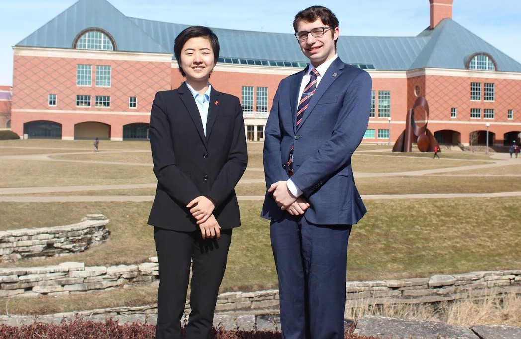 The newly elected student body executives are President Walter Lindwall (right) and Vice President Alice Zheng (left). The pair ran against Jacob Rajlich and Michael Branco-Katcher in the 2018 student election.