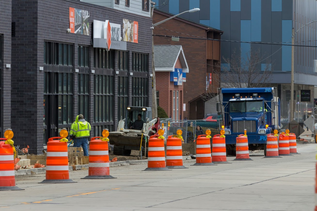 Green Street is under construction around the corner of Second and Third streets.