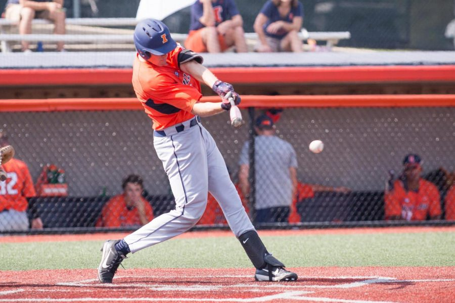 Illinois+infielder+Bren+Spillane+hits+the+ball+during+the+game+against+Indiana+State+at+Illinois+Field+on+Sept.+24.+Spillane+has+helped+carry+the+Illini+through+a+five-game+winning+streak.
