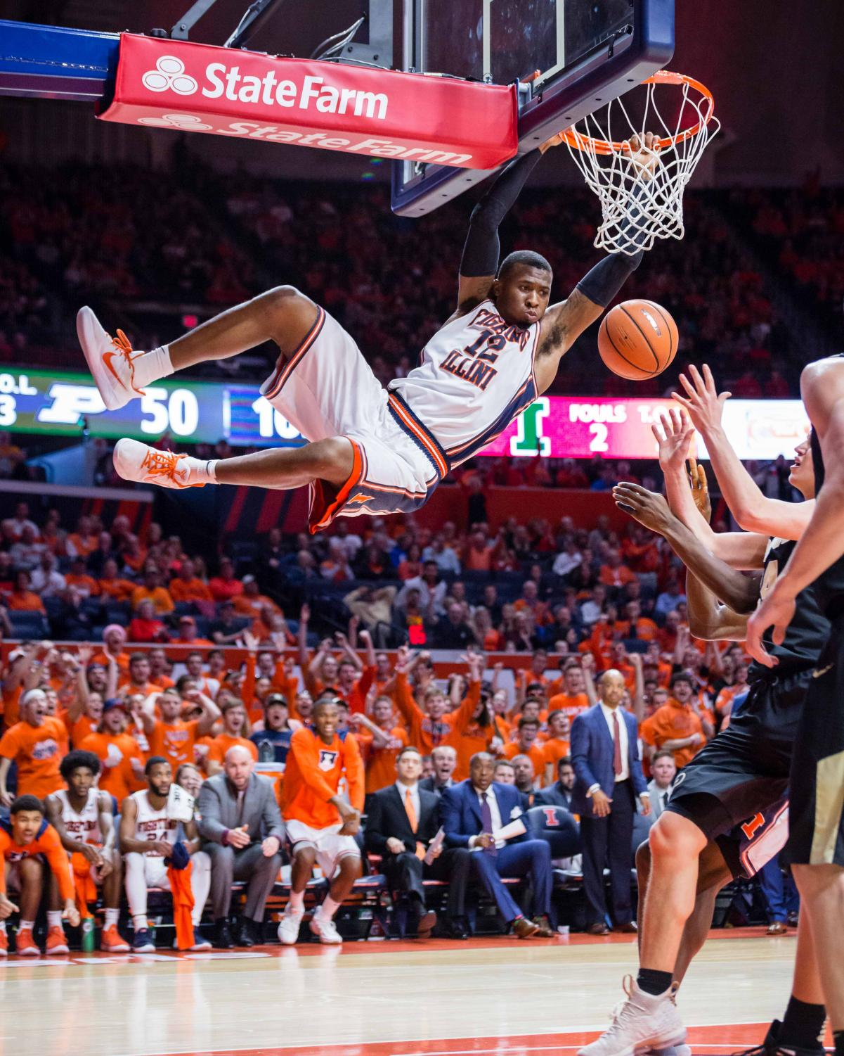 Illinois forward Leron Black (12) dunks the ball during the game against Purdue at the State Farm Center on Thursday, Feb. 22, 2018. The Illini lost 93-86.