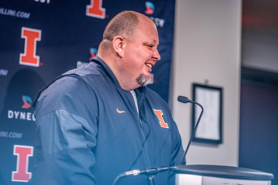 New+Illinois+offensive+coordinator+Rod+Smith+answers+questions+from+the+media+at+his+introductory+press+conference+on+Jan.+26.+Smith%E2%80%99s+Arizona+team+was+ranked+fifth+in+points+per+game+%2841.3%29+and+12th+in+yards+per+game+%28489.5%29.