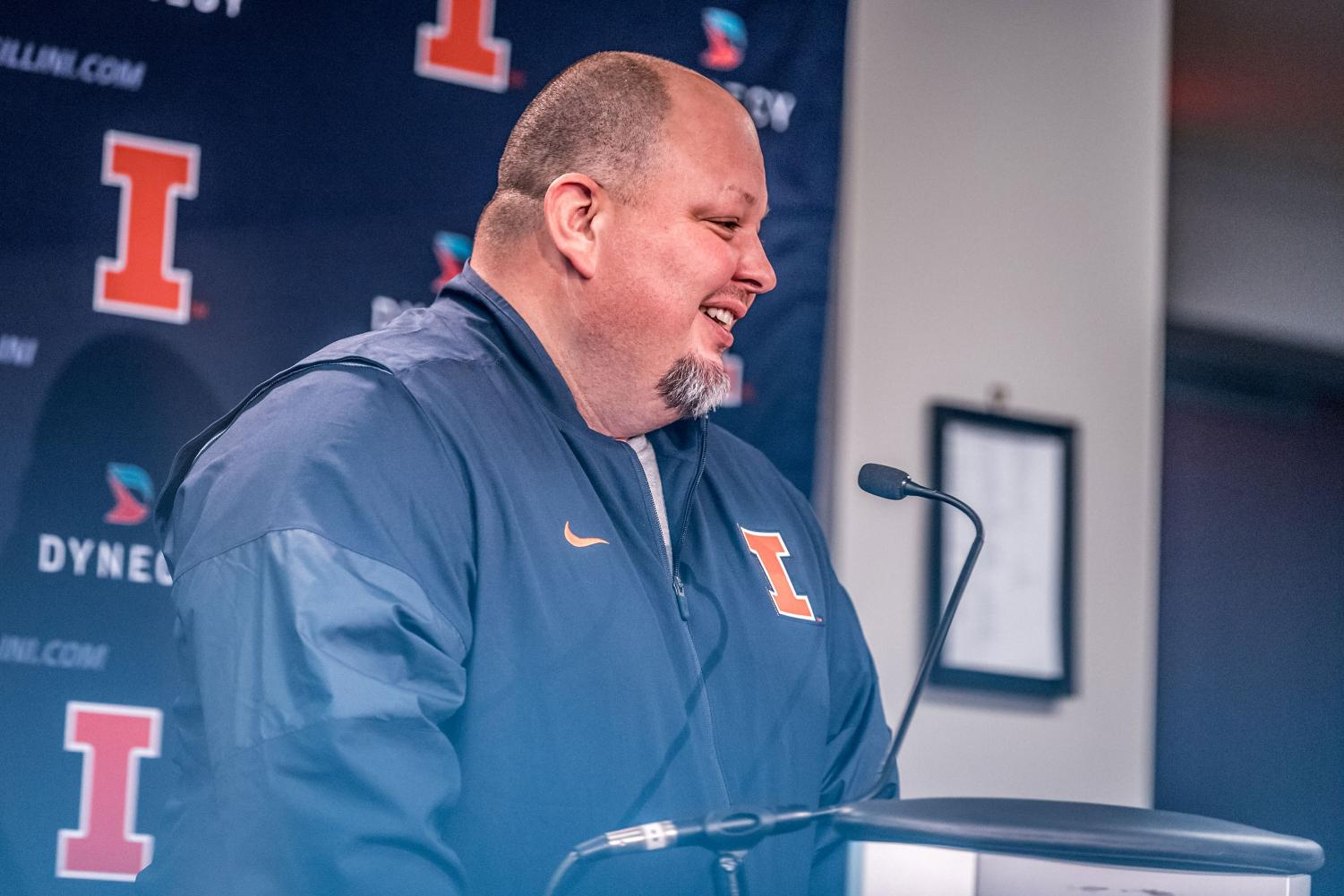 New Illinois offensive coordinator Rod Smith answers questions from the media at his introductory press conference on Jan. 26. Smith's Arizona team was ranked fifth in points per game (41.3) and 12th in yards per game (489.5).