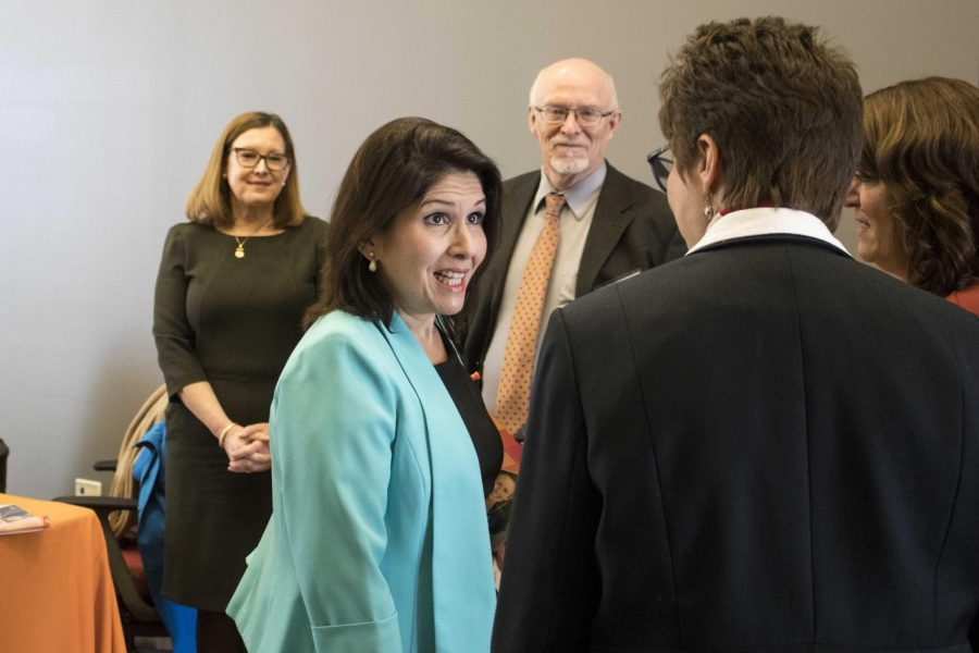 Lt.+Gov.+Evelyn+Sanguinetti+speaks+to+attendees+of+the+Opioid+Crisis+Conference.++
