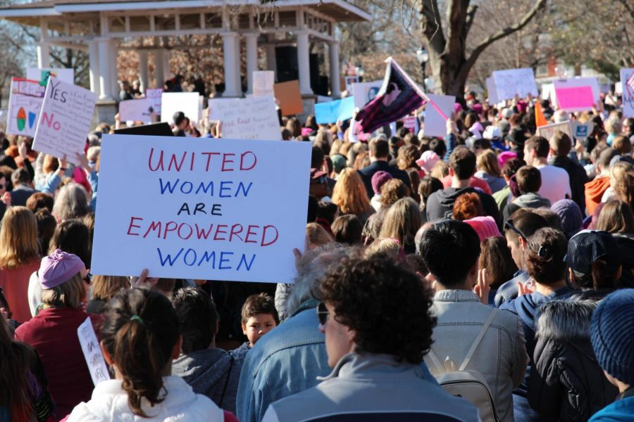 Appriximately 5,000 local men and women gather at West Side Park before marching through downtown Champaign on Jan. 21, 2017.