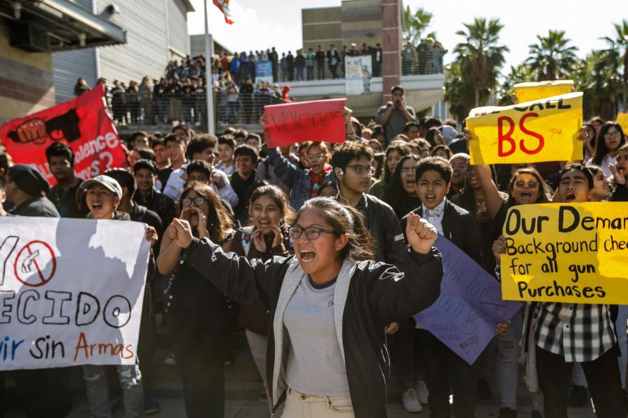 Ingrid+Lopez+rallies+her+fellow+students+as+they+chant%2C+%22No+More+Guns%2C%22+during+the+National+School+Walkout+for+Gun+Control+on+March+14%2C+2018%2C+at+Miguel+Contreras+Learning+Complex+in+Los+Angeles.