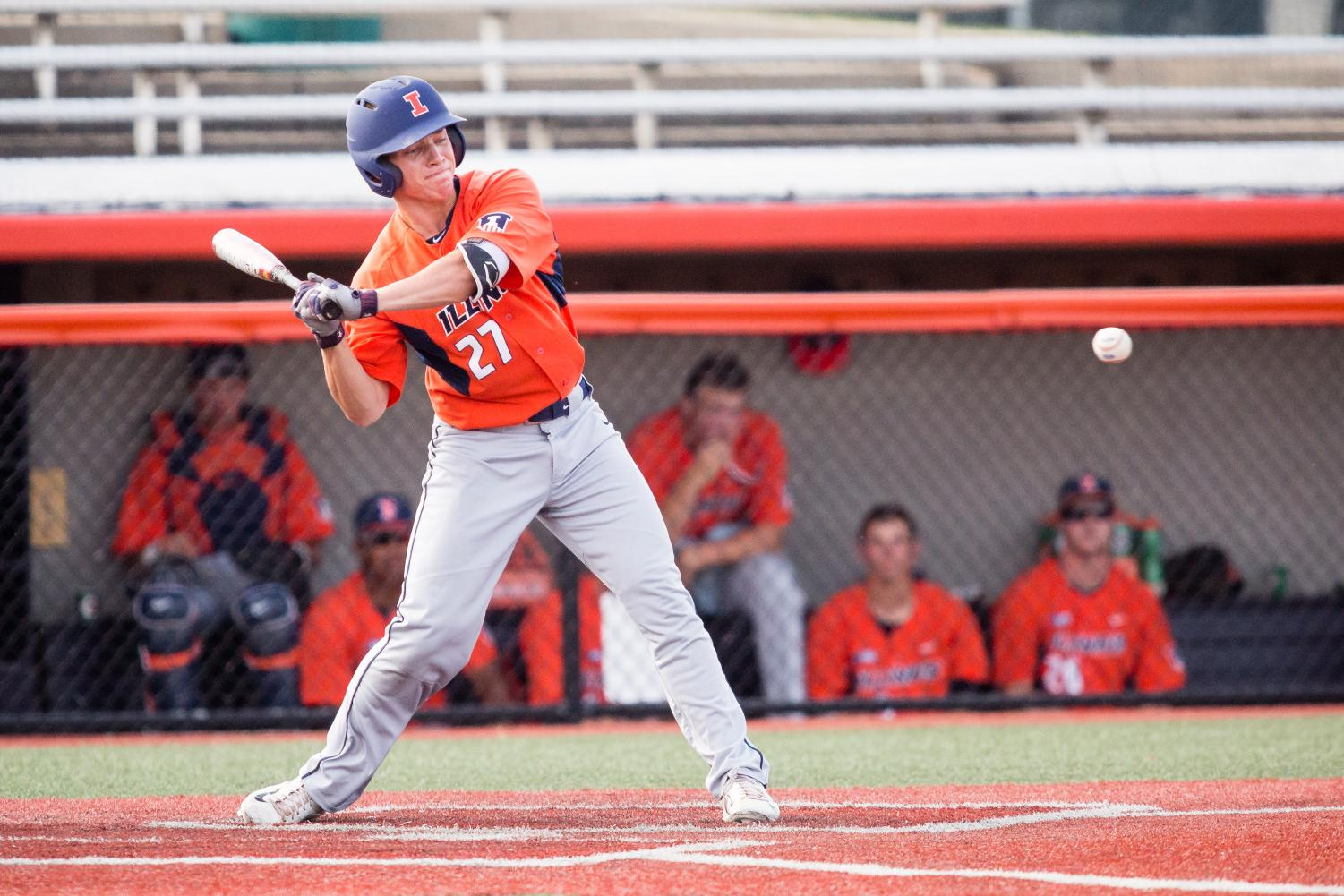 Illinois infielder Grant Van Scoy swings at the pitch during the game against Indiana State at Illinois Field on Sept. 24.
