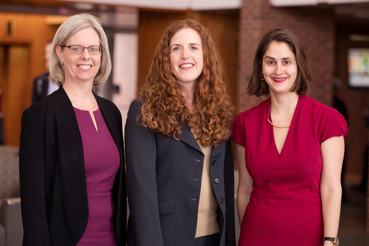 From left: Jennifer Robbenolt, professor of law; Colleen Murphy, professor of law; and Lesley Wexler, professor of law.