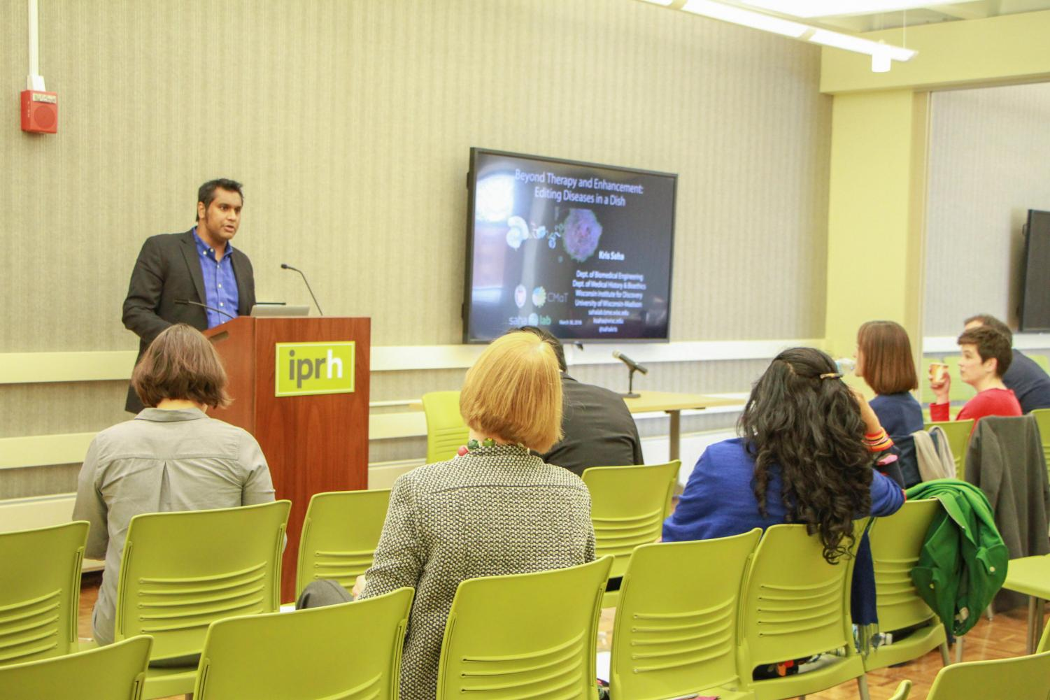 """The IllinoisProgram for Research in theHumanities hosted the Bio-Humanities Symposium on March 30. Kris Saha from the University of Wisconsin-Madison gave a talk on """"Editing Diseases in a Dish."""""""