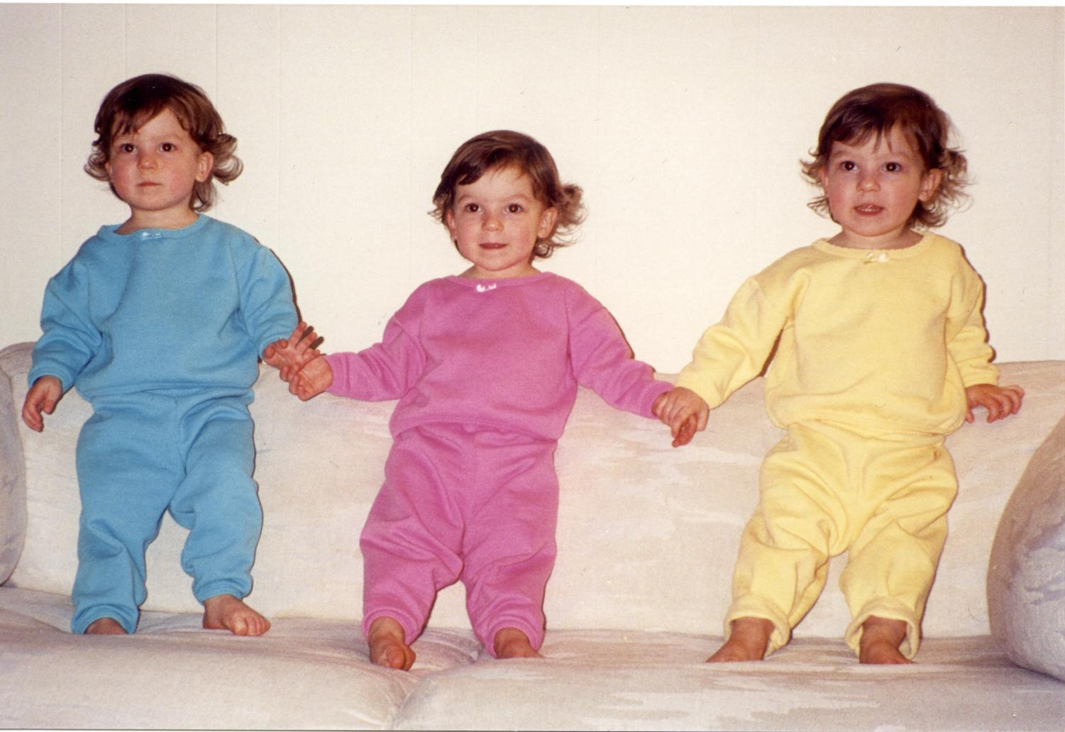 The Ponicki triplets while they were younger. The sisters were known throughout their community as identical triplets, but they now consistently meet astonishment on the streets from passersby when they see the triplets walking on campus.