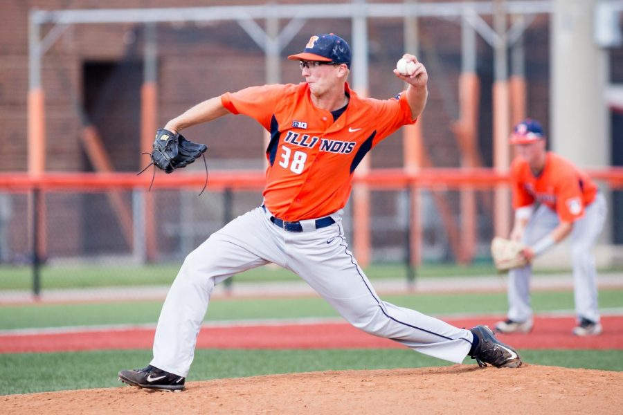 Pitcher Andy Fisher delivers the pitch during the game against Indiana State at Illinois Field on  September 24. Seven Illini, including Fisher, signed with professional teams following the MLB draft earlier in June.