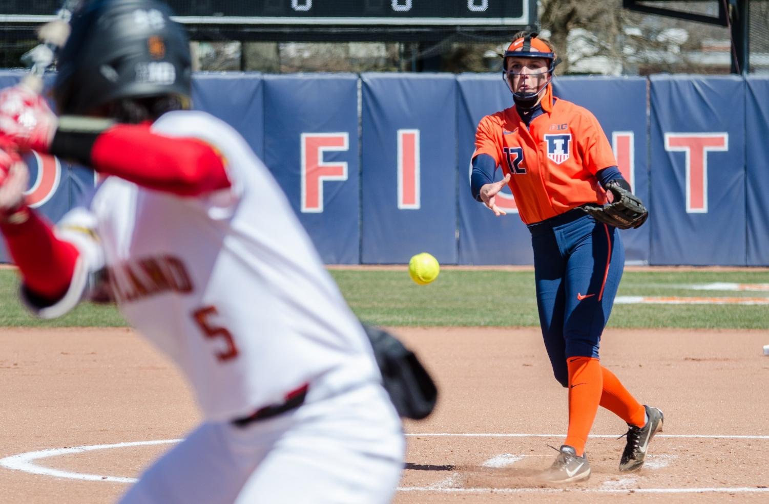 Taylor Ewards throws a pitch during Illinois' home game against Maryland on Saturday.