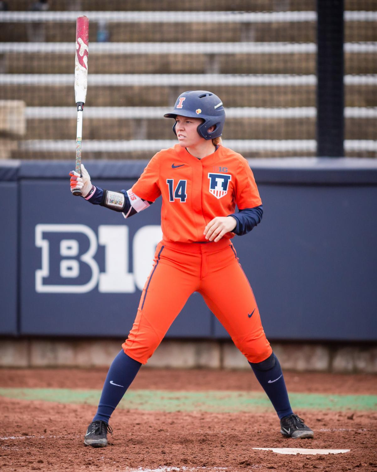 Illinois outfielder Maddi Doane (14) gets ready for her at bat during the game against Northwestern at Eichelberger Field on Wednesday, Mar. 28, 2018.