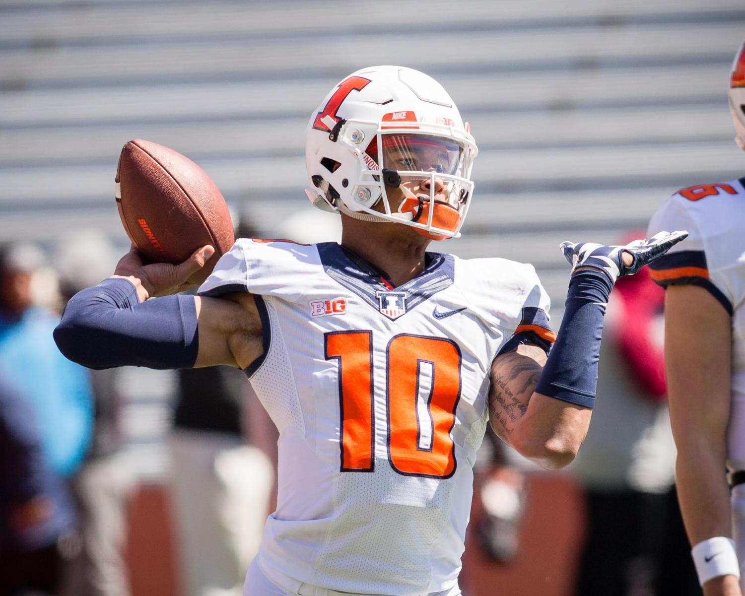 Illinois football held an open spring practice on Sunday. Community members came to watch the team run through practice drills and a scrimmage.